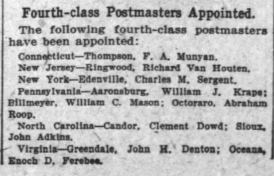 - Fourth - class Postmasters Appointed The...