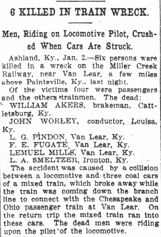 Van Lear Train Wreck 1911 - G KILLED IN TRAIN WRECK Men Riding on...