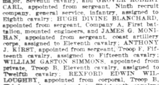 Hugh Divine Blanchard 1892 - CARL appointed from sergeant Ninth recruit...