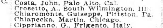 WW1 - Costa John Palo Alto Cal i Crosettok A South...
