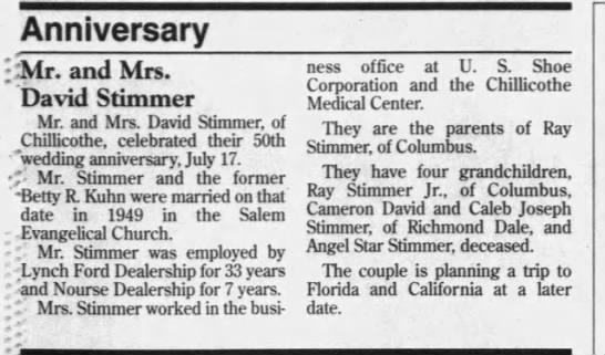 - Anniversary l&lr. and Mrs. David Stimmer Mr....