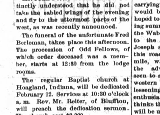 Fred Berleman funeral - distinctly uhdejrs'tiod, that, he 'did hot take...