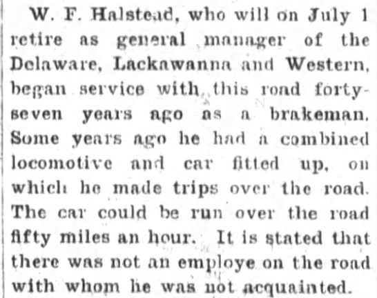 - W. F. HalBtead, who will on July 1 retire as...