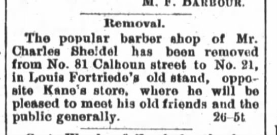 Louis Fortriede, The Ft. Wayne Journal-Gazette, Th. Oct. 27, 1887 p.4 - Itemoval. The popular barber shop of Mr....