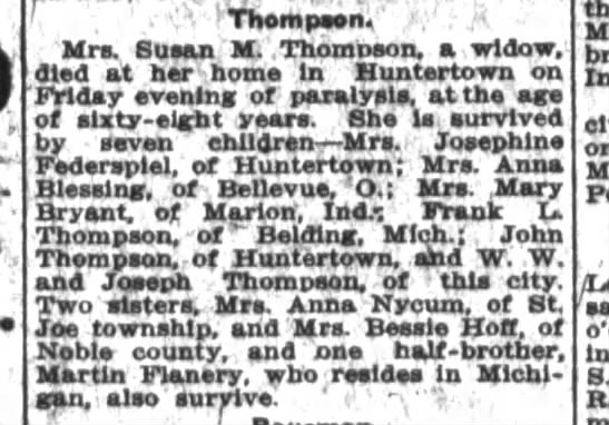 - - Mrs. Buaan'M - .Thomoeon, a widow, died at...