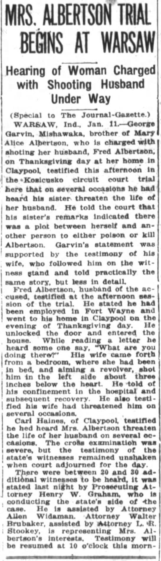 Albertson Shooting - MRS. ALBERTSQN TRIAL AT Hearing of Woman...