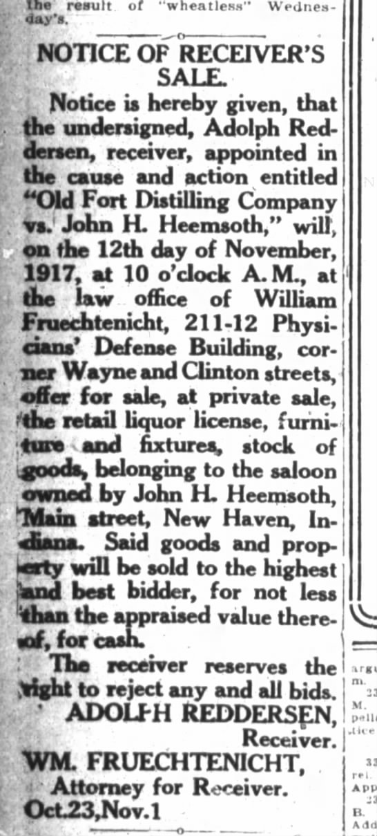 Wm. Fruechtenicht, the Fort Wayne Journal-Gazette, Th Nov. 15, 1917, p.10 - the result of wheatless Wednes day's NOTICE OF...