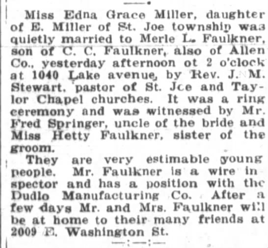 1919 Nov 21 Faulkner, Merle marries Edna Grace Miller - Miss Edna Grace Miller daughter of E Miller of...