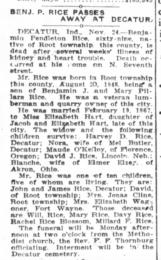 Obituary of Benjamin Pendleton Rice, half brother of Mary A. Rice - BENJ. p. RICE PASSES AWAY ftT DECATUR, nECATUK....