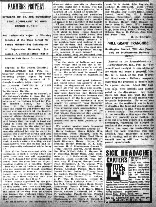 1901 Feb 16 Farmers Protest about the State School -- Springer, Harry - CITIZENS OF ST. JOE. TOWNSHIP 8END COMPLAINT TO...