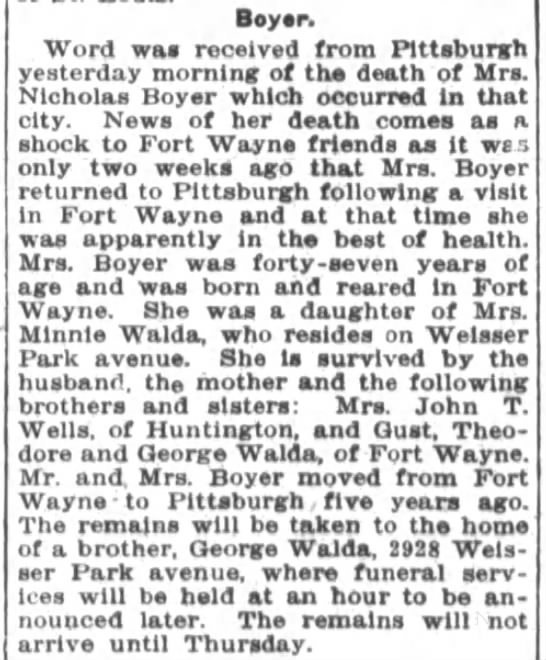 Walda sister death - Boyer Word was received from Pltteburgh...