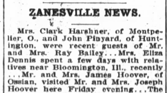 1921 May 4 Hoover, Joseph have visitors - ZANESVILLE NEWS. . Ii Mrs. Clar'k Ilarshner, of...