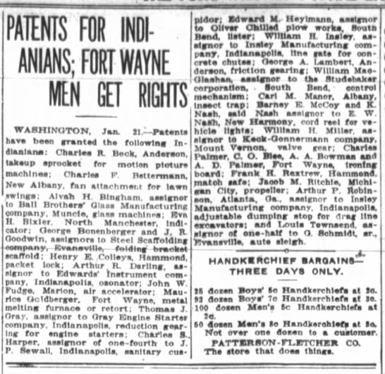 Fort Wayne Journal-Gazette 1 22 1915 pg 5 - PATENTS FOR II - MNS;F0YNE IN GET RIGHTS...