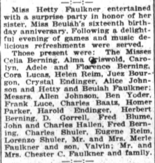 1921 Feb 16 Birthday Party for Buelah Faulkner