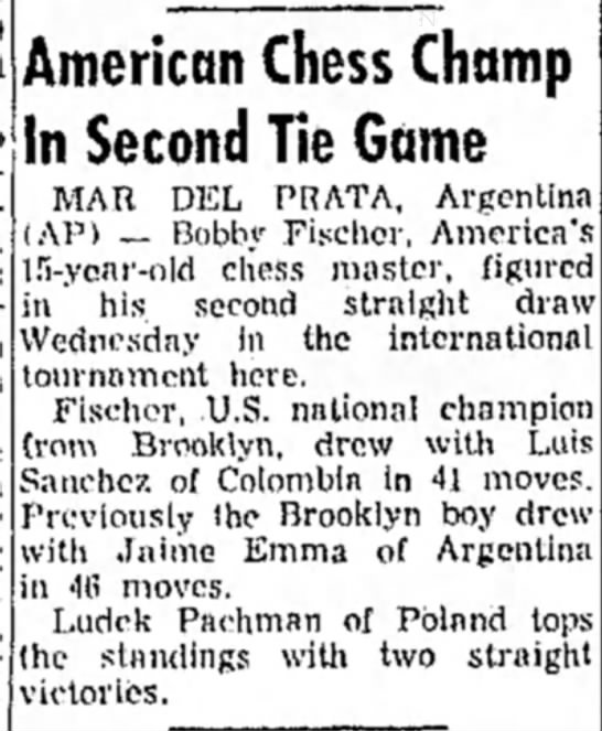 American Chess Champ In Second Tie Game - American Chess Champ In Second Tie Game MAR DEL...