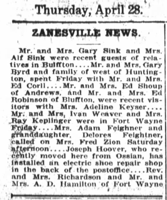1921 Apr 28 Hoover, Joseph opens shoe repair shop - ThuWday.Aptlr: ZANEsyn.14: nw?. Mr. and Mrs....