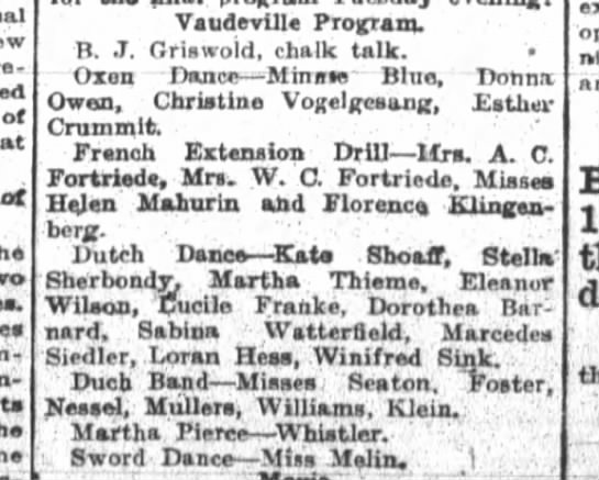 Mrs. A.C. Fortriede, Mrs. W.C. Fortriede, The Fort Wayne Sentinel, Tues, Apr. 27, 1915 p.7 - of of - i - Its Vaudeville ProuTam. B. J....