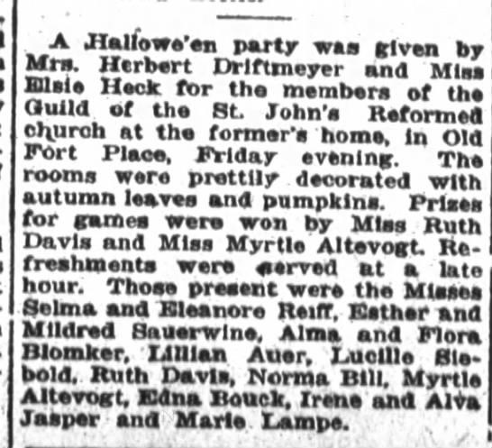 Halloween Party Miss Elsie Heck - A JIalfowe'en party was given by Mrs. Herbert...