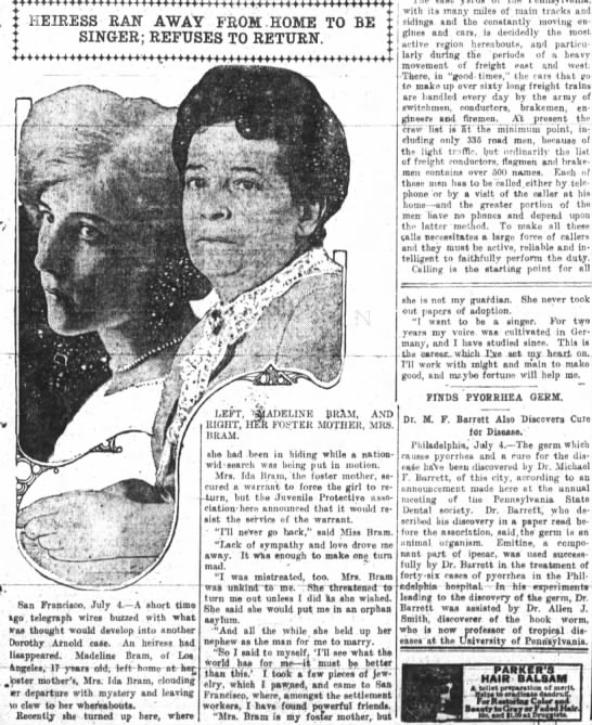 The Fort Wayne Sentinel (Indiana), 4 July 1914, p 7. - HEIRESS RAN AWAY FROM HOME TO BE i I SINGER;...
