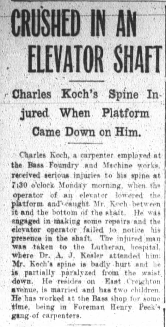 GG Koch  Another writeup on the fatal accident - CRUSHED IN AN . ELEVATOR SHAFT .Charles Koch's...