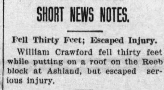 William Crawford falls 30 ft; escaped injury - SHORT NEWS NOTES. 111 Thirty Fet; Escaped...