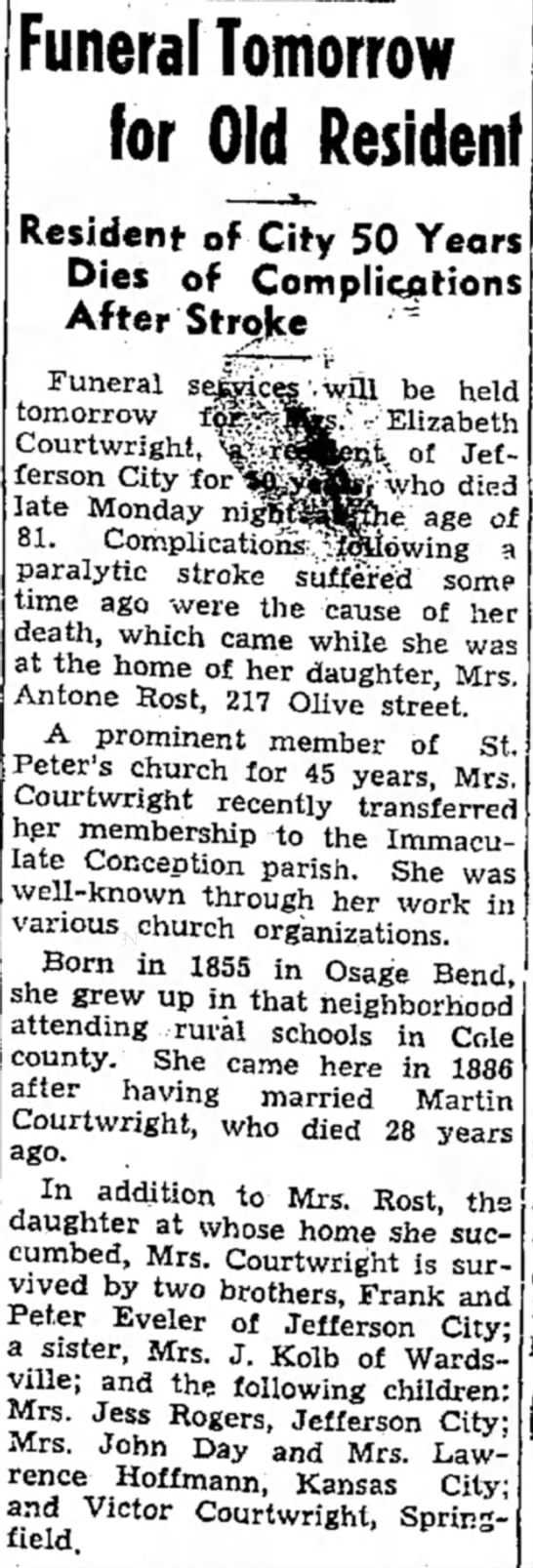 Elizabeth (Eveler) Courtwright. Peter Evelers sister. Daughter of Joseph and Mary Anna Lauf Eveler - Funeral Tomorrow for Old Resident Resident of...