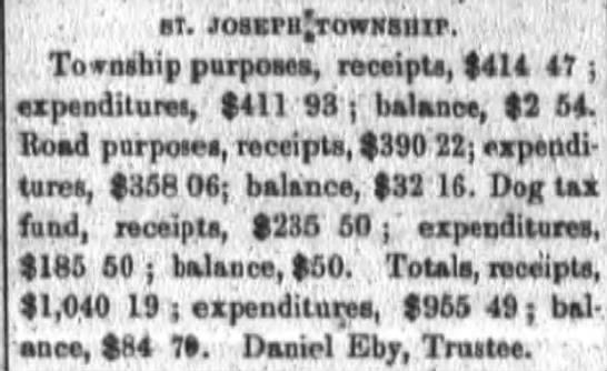 1874 Mar 12 Daniel Eby St Joseph Township Trustee