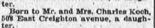 "Aunt Thelda's birth announcement - daughter,'. "" .'""'.. Born to Mr. and Mrs...."