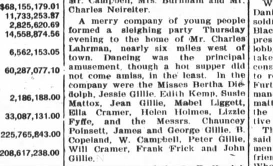 Chauncey Poinsett attends sleighing party at home of Charles Lahrman - $68,155,179.01 11,733,253.17 2325,520.69...