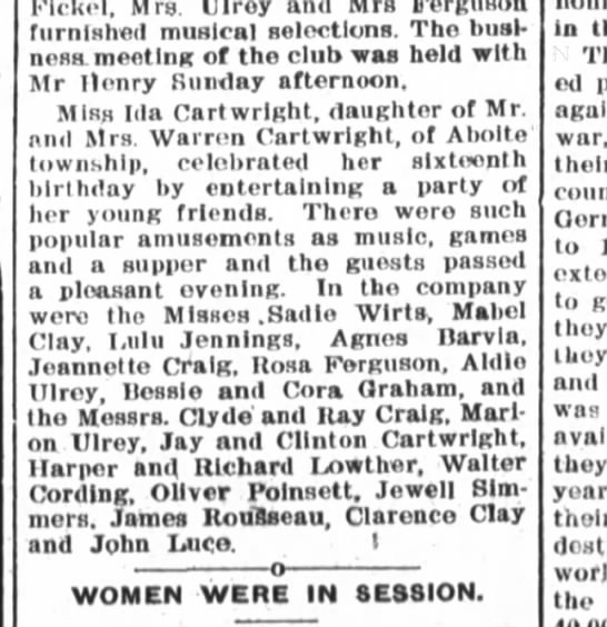 Ida Cartwright has 16th birthday party; Oliver Poinsett attends. - Fickel, Mrs Ulroy Mrs furnished musical...