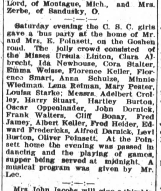Bus party held at home of Mrs. E Poinsett; Oliver Poinsett attends as does Ida Newhouse - Zerbe, of Sandusky, O. Saturday evening the O...