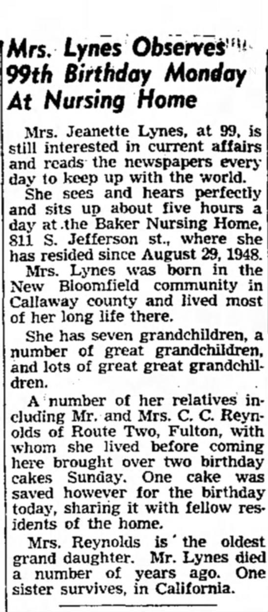 Jeanette Mariah (Fenley) Lynes observes 99th birthday - Mrs. Lynes Observes' 1 ^ 99th Birthday Monday...