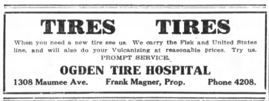 Ad for Ogden Tire Hospital.