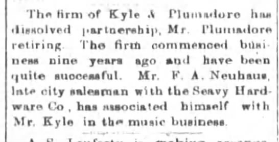 FA Neuhaus is now in music business. - The Krm of Kyle t Pluhiadore haa Involved...