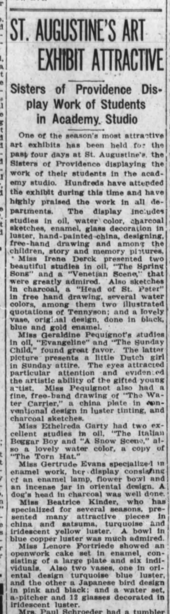 Lorena? Fortriede, The Ft.Wayne Journal-Gazette, Tues. June 20, 1922, p.12 - - ST. AUGUSTINE'S ART EXHIBJTMCM Sisters of...