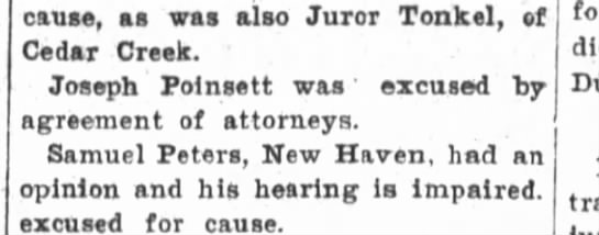 Joseph Poinsett excused from jury in Dunn murder case. - cause, as was also Juror Tonkel, of Cedar...