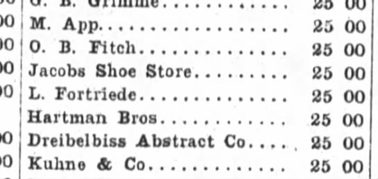 L.Fortriede, The Fort Wayne Sentinel, Mar. 28, 1900 part 2 - 00 M. App 25 00 0. B. Fitch 35 00 Jacobs Shoe...