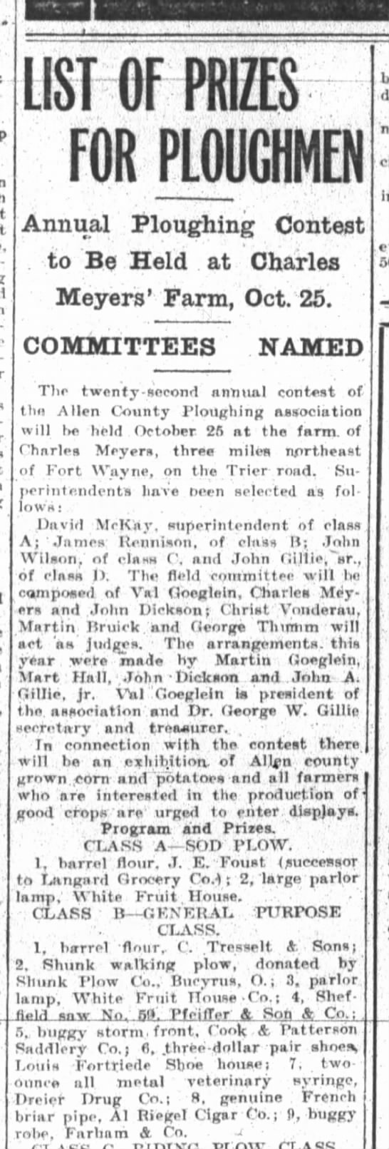 Louis Fortriede, The Fort Wayne Sentinel, Th. Oct. 10, 1912 p.10 - ' LIST OF PRIZES FOR PLOUGHMEN Annual Ploughing...