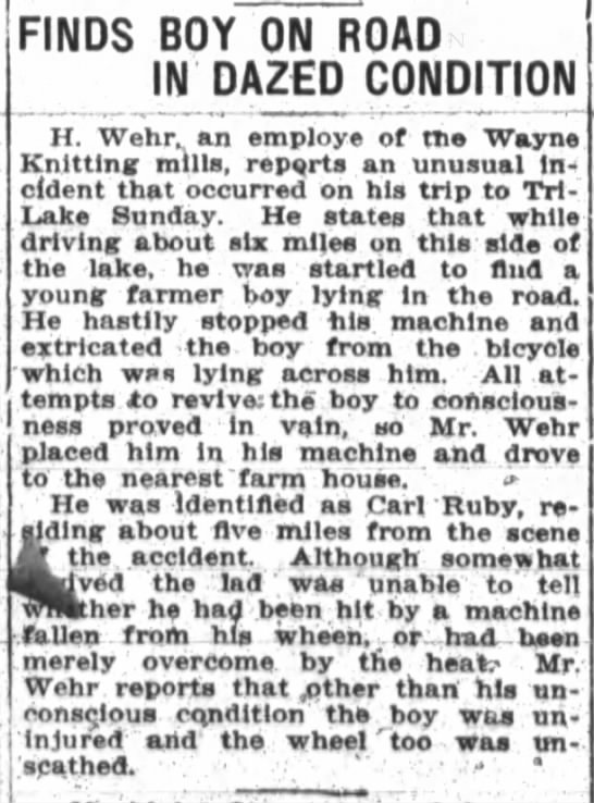1917 Jul 31 Ruby, Carl found laying in the road hurt but not injured - FINDS BOY ON ROAD IN DAZED CONDITION II Wehr.an...