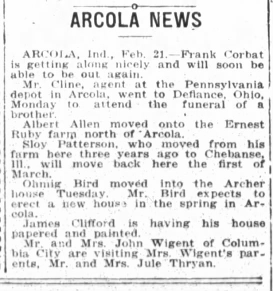 1917 Feb 22 Ruby, Ernest  - ARC0LA NEWS AW OI.A Inl eb 21 Fiank Porbat is...