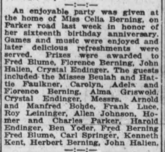 1920 Sep 14 Celia Berning 16th birthday party. Hattie & Buelah Faulkner attended - Aa en.ova.til.a n,rt m i a the home of Mlaa...