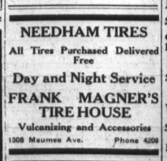 Add for Frank Magner's Tire House. - NEEDHAM TIRES AU Tires Purchased Delivered Free...