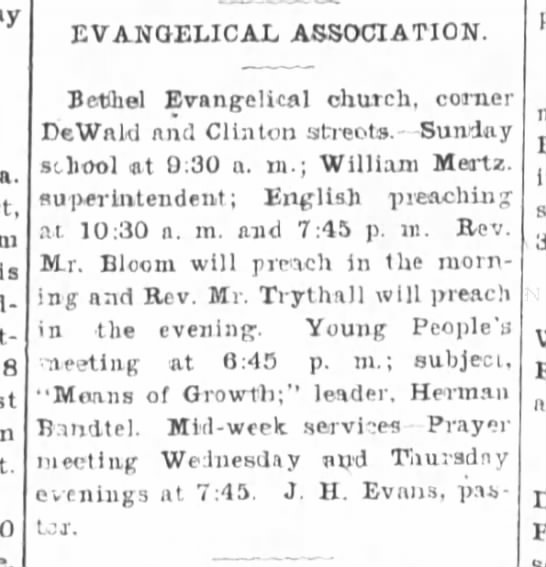 Herman Bandtel, The Ft.Wayne Sentinel, Sat. July 19,1902 p.16 - a. Is 8 EVANGELICAL ASSOCIATION. Bethel...