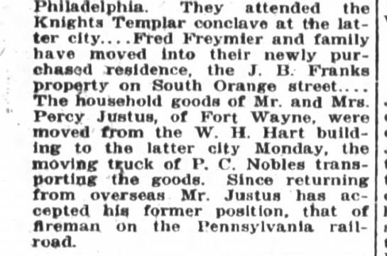 Percy Justus - railroad fireman - Philadelphia They attended the Knights Templar...