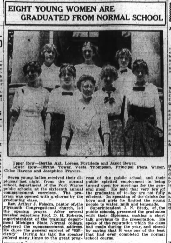 Lorena Fortriede, The Fort Wayne Journal Gazette Sat. June 13, 1914 p.9 - - EIGHT YOUNG WOMEN ARE GRADUATED FROM NORMAL...