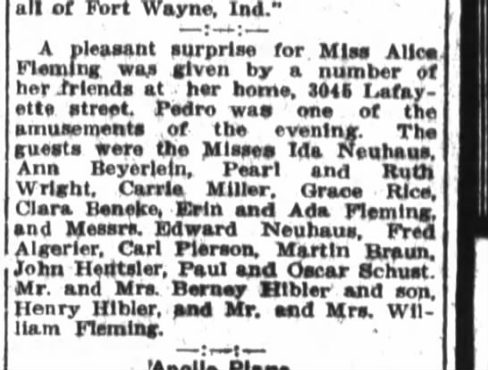 Edward Neuhaus attends party of Alice Fleming.
