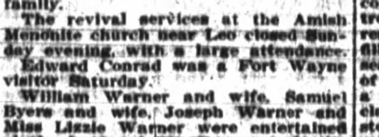 Edward Conrad 30 Dec 1909 was a Fort Wayne visitor Sat. - family.. Th revival aervlcea at Ih Amlh Menotte...