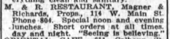 Add for Magner and Richards Restaurant.  Wonder what Magner this was... - f . A R. RESTAURANT, Magner Richards, Props,...