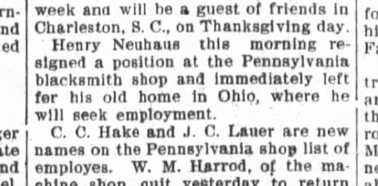 Henry Neuhaus resigns blacksmith position and leaves for home in Ohio