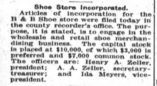 Zeller shoe store incorporated - Shoe Store Ineorporated. Articles of...